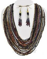 Multi Layers Black Brown Multi Color Glass Seed Bead Necklace Earring