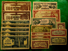 WWII Japan Invasion South-East Asia Money 18 Banknotes Set.