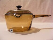(B) VISION CORNING 1L AMBER STOCK POT WITH POUR SPOUT AND LID