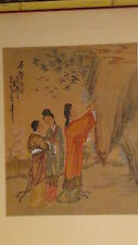 """ANTIQUE 19C CHINESE WATERCOLOR ON PAPER PAINTING""""THREE GIRLS ON LANDSCAPE""""SIGNED"""
