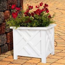 White Box Planter Traditional Lattice Pattern Home Garden Patio Outdoor Decor