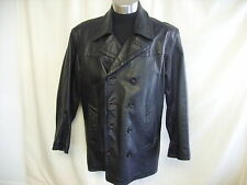 "Mens Coat Helium black heavy leather, quilted lining, chest 48"", length 35"" 2406"