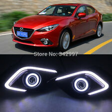 2x LED DRL Daytime Fog Lights Projector+angel eye kits For Mazda 3 AXELA 2014-16