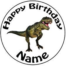 """Personalizado De Cumpleaños Dinosaurio-T-Rex Redondo 8"""" fácil Precortada Glaseado Cake Topper"""