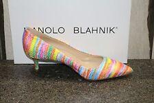 NIB MANOLO BLAHNIK KITTEN 50 RAINBOW FABRIC Pumps Shoes 38