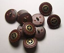 Pack of 8 18mm Brown Faux Leather and Metal Gold Star Button   2003