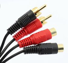 3m Phono Audio Extension Lead 2 RCA Male to Twin Phono Female Cable GOLD