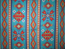 Navajo Native American Beaded Like Floral Teal Border Print Cotton Fabric BTHY