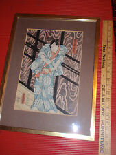 ANTIQUE RARE ORIGINAL JAPANESE WOOD BLOCK PRINT FRAMED