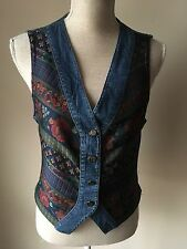 St Michael From M&S Women Waistcoat Blue Floral Vintage Size 10 (09)