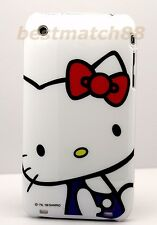 FOR IPHONE 3G 3GS CELL PHONE  BACK CASE WHITE RED & BLUE CUTE kitten hello kitty