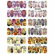 12 Sheets DREAM CATCHER Feather Nail Water Transfer Decal Sticker Art L7S