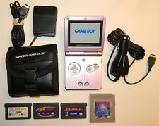 Nintendo Game Boy Advance GBA SP AGS-101 Pearl Pink System NICE Working + Extras
