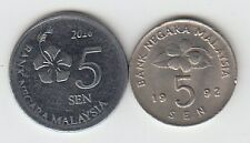 UNC - MALAYSIA SET OF 2 OLD & NEW SERIES 5 SEN COIN SET...............