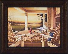 SUNSET WITH WINE by John Rossini 16x20 FRAMED PRINT Adirondack Chairs Lake Porch
