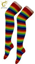 Ladies Over The Knee Fancy Dress Party Stripey Striped Socks Variety Colours Sox
