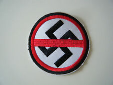 ANTI FASCIST PATCH Embroidered Iron On Anti Racist Nazi Swastika Badge NEW