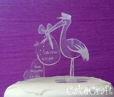 Baptism,Christening  Engraved Acrylic Personalised Stork cake topper decorations