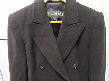ESCADA Women's Dress Jacket Size 34 Brown Lined Angora Wool Dbl Brst Germany