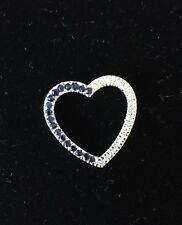 10k White Gold Sapphire And Diamond Heart Pendant 7/8""