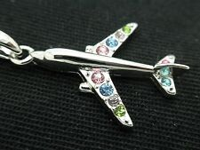 Swarovski Crystal Jet Airplane Pendant Necklace Women Flight Attendant Pilot