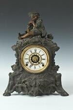 "SPELTER FIGURAL MANTLE CLOCK, Late 19th/Early 20th Century. - 16 1/4""... Lot 927"