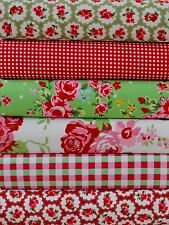 6 PIECE PATCHWORK COTTON FABRIC BUNDLE  INC CATH KIDSTON ROSALI ROSES RED GREEN