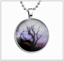 Fashion Glow in the Dark Lucky Tree Cabochon Tibet Silver Glass Pendant Necklace