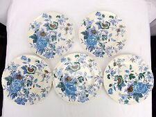 Vtg Mason's Belvedere Blue Ironstone England Set of 5 Dinner Plates 10 1/4""