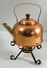 Vintage Coppercraft Guild Copper Tea Pot Kettle Wrought Iron Burner Warmer Candl