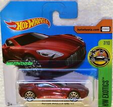 HOT WHEELS 2017 HW EXOTICS ASTON MARTIN ONE -77 #7/10 CHROME RIMS SHORT CARD