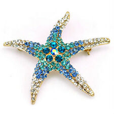 6cm Big Starfish Ocean Blue Brooch Pin Use Swarovski Crystal