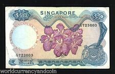 SINGAPORE $50 P5A 1967 ORCHID *WithOut RED SEAL*  BRUNEI CURRENCY MONEY BANKNOTE