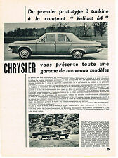PUBLICITE ADVERTISING  1963    CHRYSLER   VALIANT 64