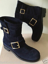 £595 JIMMY CHOO YOUTH BLUE SUEDE LEATHER BIKER BOOTS 35.5