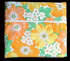 Vintage Floral Wabasso FLAT Bed Sheet DOUBLE Bright Flowers Orange Yellow Green