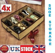 4x12 pair Under Bed Shoe Organiser Storage Holder Shoe Box Tidy Bag Rack Pockets