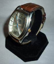 Mens Montres de Fleur Silvertone Roman Numeral Watch Brown Leather Band