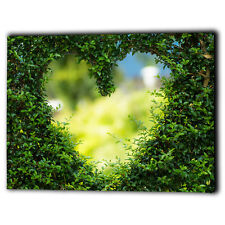 Abstract Green Heart Canvas Framed Panel Love Romantic - New Wall Art Print Gift