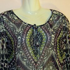 W BHS LADIES LONG SLEEVE SHEER BLOUSE UK SIZE 16