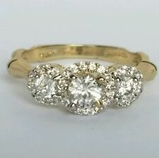 1.25 Carat 10k Yellow Gold 3 stone halo round Engagement Wedding  Ring S 7