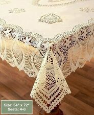 "Beige Crochet Lace Vinyl Tablecloth Vintage Look Protect Kitchen Table 54"" x 72"""