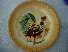 Collectible Hand Painted MORNING ROOSTER Dk.Red/Green/Tan Chicken Ceramic Plate