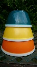 Vintage JAJ Pyrex Rainbow Mixing Pudding Bowls Set x3 Teal Orange Yellow Rare