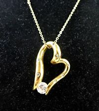 """Floating Heart Gold GP Clear Cubic Zircon CZ Pendant Necklace 18"""" chain"""