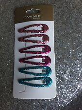 6 Pinces Epingle Barrette Clips Paillette à Cheveux Bleu Rose Fuschia Coiffure