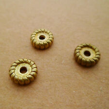 10pcs High-quality Raw Solid Brass Round Spacer Beads Disc Shape Tibetan Style