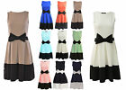 Women Ladies Contrast Panel Bow Detail Flared Skater Dress Size 8 10 12 14