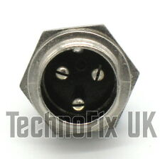 3 pin microphone connector locking chassis panel socket mike (GX16-3)