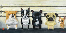 DOG ART PRINT: The Lineup by Brian Rubenacker 12x24 bulldog pug chihuahua Poster